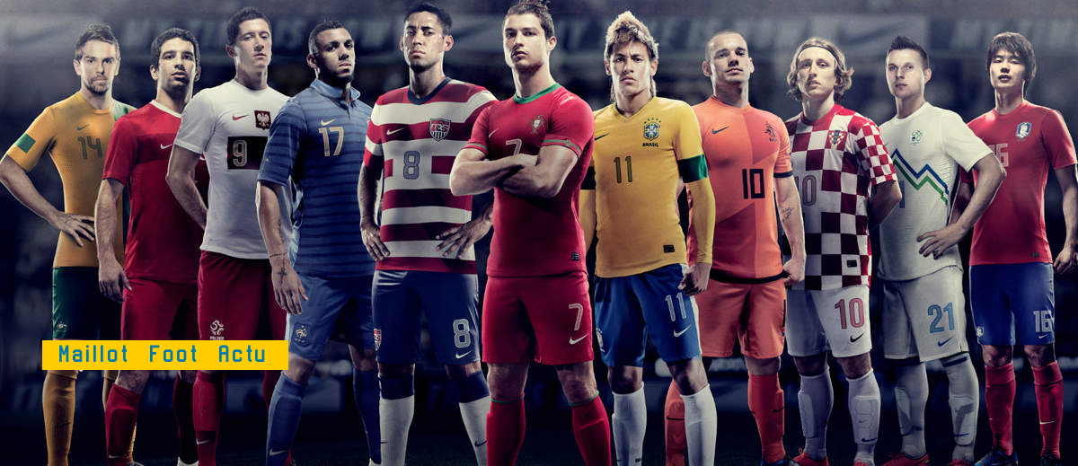 Maillots football kits Nike 2012 2013 flocage équipes nationales