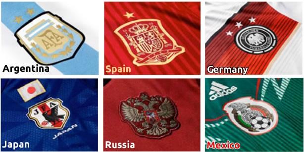 blasons pays maillots coupe du monde 2014