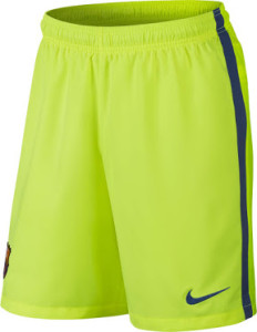 Barcelone short de foot jaune 2014 2015