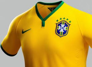 Bresil maillot domicile col coupe du monde 2014