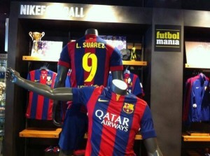 SUAREZ maillot foot Barcelone 2014 2015