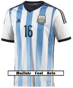 flocage avant maillot Argentine mondial 2014 Kun Agüero 16