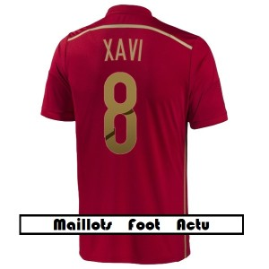 flocage maillot foot Espagne XAVI 8 Coupe du monde 2014