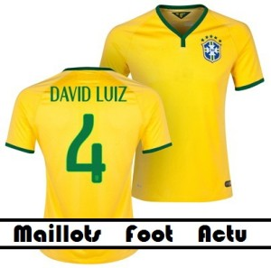 flocage maillot football Coupe Du Monde 2014 Bresil (David Luiz 4)