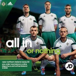 équipe Irlande du nord 2014 maillot extérieur