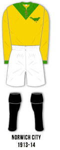 maillot norwich city 1913 1914