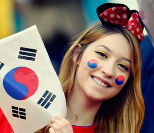 Coreenne sexy fan fille maillot coree du sud 2014 coupe du monde