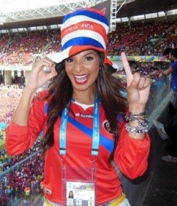 costa rica fan girl babe maillot foot costa rica 2014