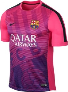 Barcelone 2015 maillot pre-match rose