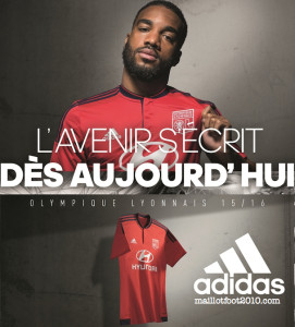 OL 2015 2016 away Lacazette maillot rouge