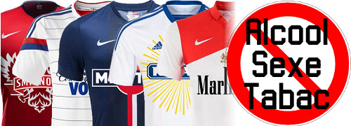 maillots sponsors interdits alcool sexe tabac
