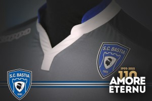 SC Bastia 2016 troisieme maillot third 2015 2016 blason