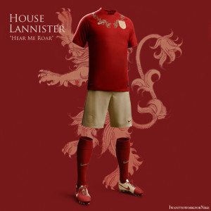 nouveau maillot de foot Lannister Game of Thrones