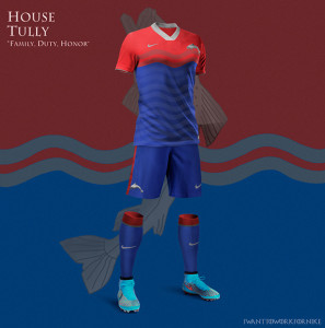 Maillot de foot Game of Thrones maison Tully