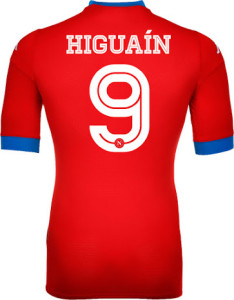Naples 2016 maillot third rouge 15-16 dos Higuain