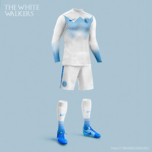 le maillot de football marcheurs blancs Game of Thrones