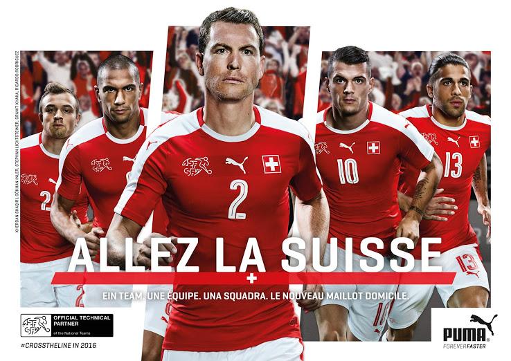 Les nouveaux mailllots de foot de la Suisse Euro 2016