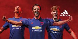 Manchester United 2017 maillot exterieur bleu Adidas 16-17