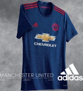Manchester United 2017 maillot foot exterieur bleu Adidas 16-17