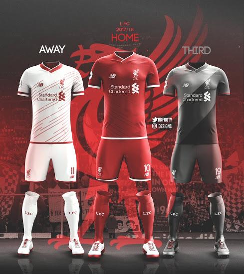 Liverpool 2018 nouveaux maillots de foot possibles
