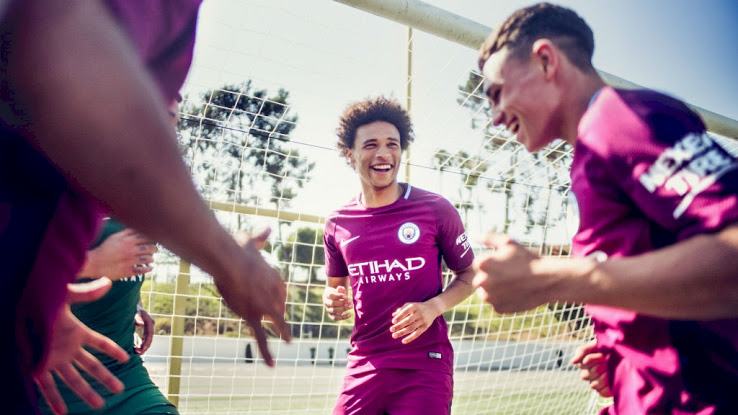 Manchester City 17 18 maillot exterieur de foot