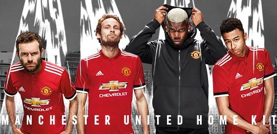 Manchester United 2017 2018 maillot de football domicile officiel Adidas