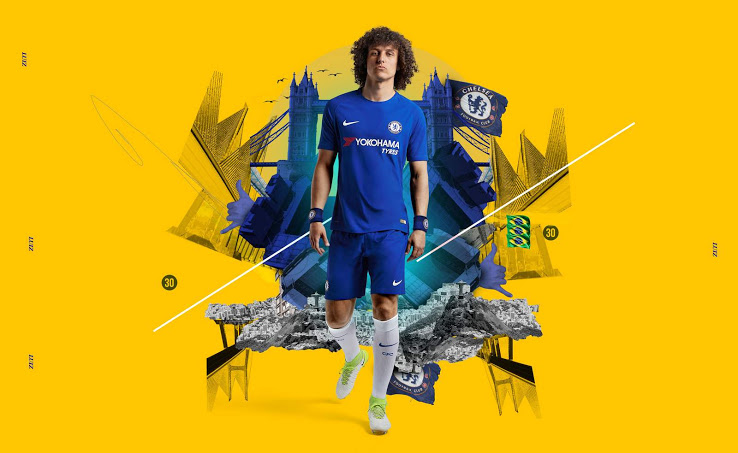 Chelsea 2018 maillot de football bleu domicile Luiz
