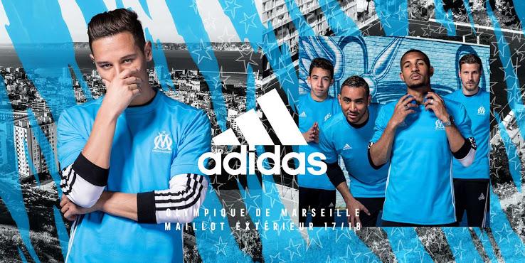 Olympique de Marseille 2018 maillot exterieur bleu ciel
