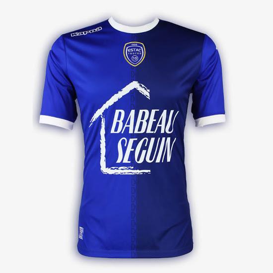 ESTAC Troyes 2018 maillot domicile foot bleu
