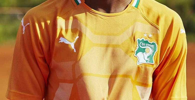 Cote Ivoire 2018 maillot domicile Puma zoom avant