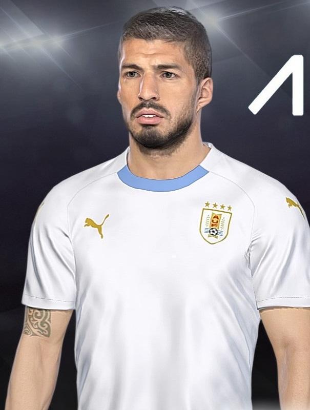 montage Uruguay maillot 2018 coupe du monde Suarez