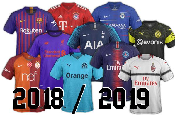 les nouveaux maillots de foot 2018 2019 des clubs maillots foot actu. Black Bedroom Furniture Sets. Home Design Ideas