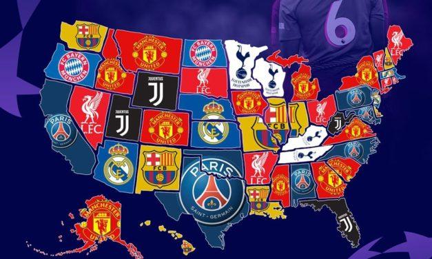 Infographie les ventes de maillots de la Ligue des champions au Etats-Unis