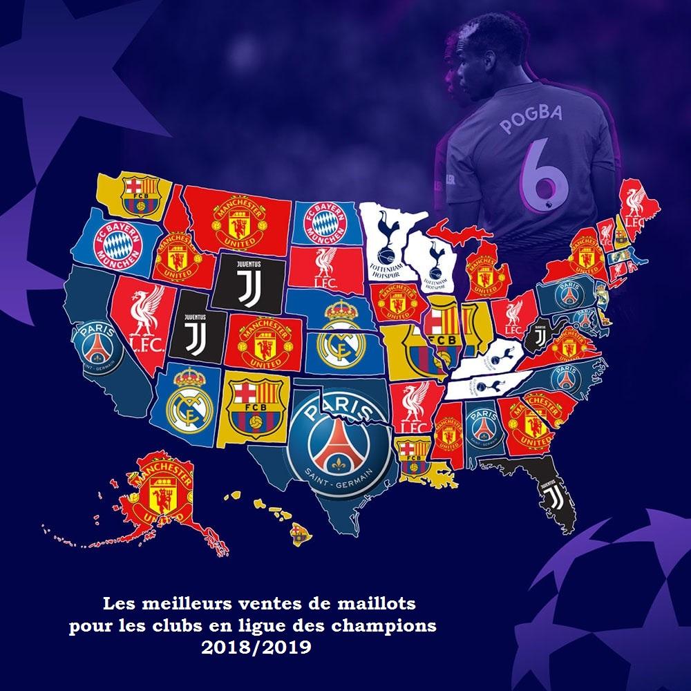 ventes maillots ligue des champiuons Etats Unis USA