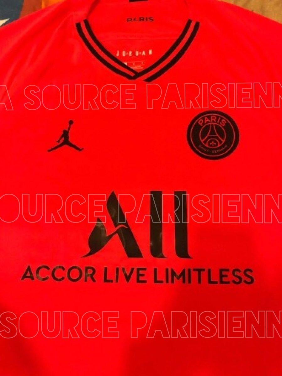 PSG 2019 2020 maillot exterieur rouge Jordan