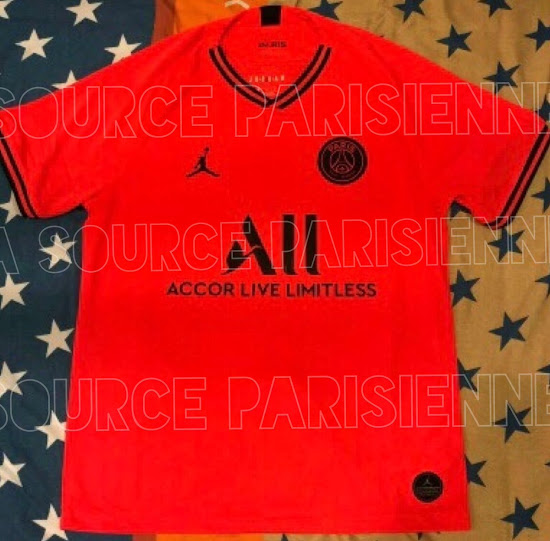 PSG 2020 maillot extérieur foot Jordan rouge