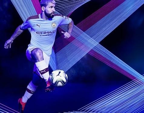 Manchester City 2019 2020 Aguero nouveau maillot domicile foot
