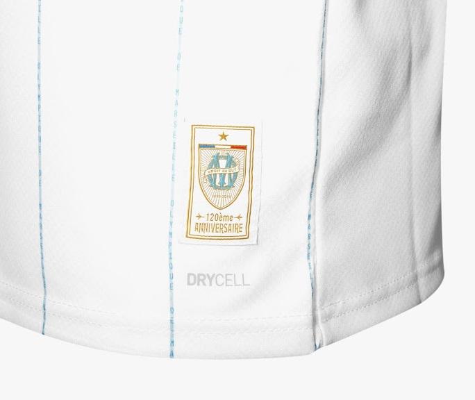 OM 2020 maillot de foot domicile badge anniversaire 120 ans