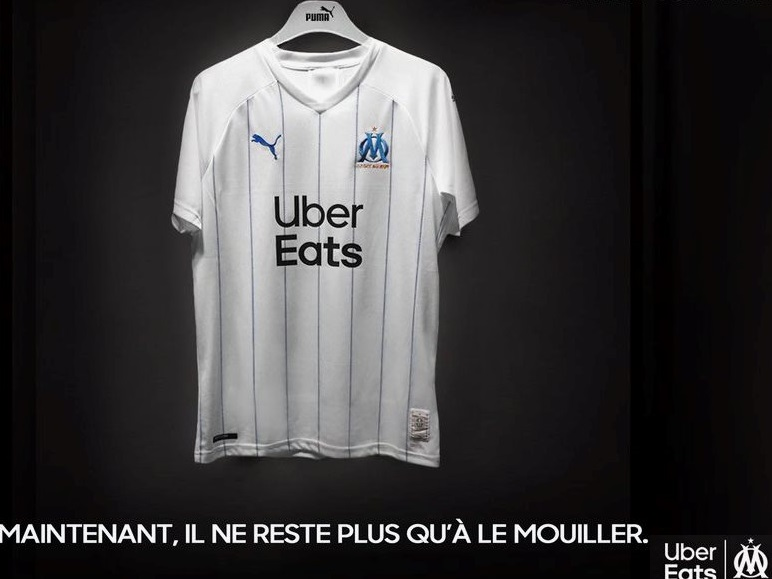 OM 2020 nouveau maillot domicile 19 20 logo Uber Eats