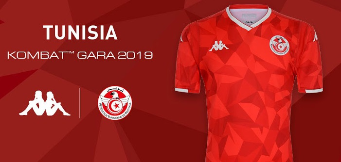 Tunisie CAN 2019 maillot exterieur football Kappa