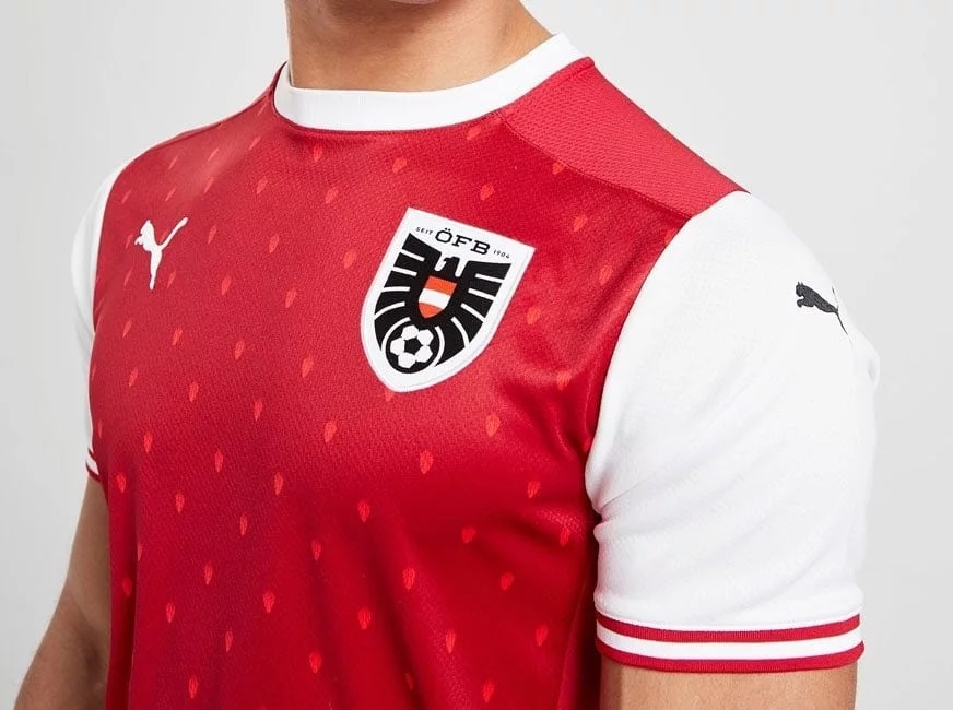 details Autriche Euro 2020 maillot domicile Euro 2021