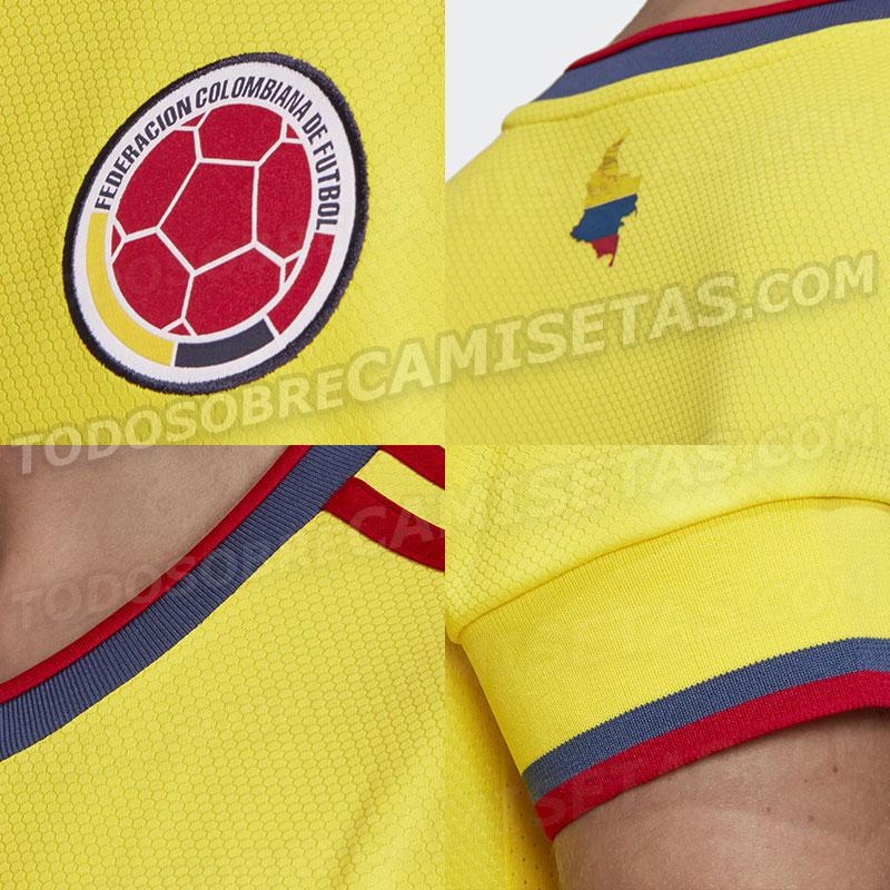 details Colombie Copa America 2021 2020 maillot domicile