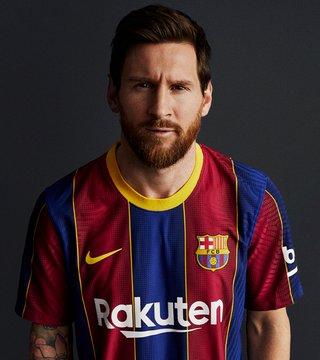 Barcelone 2021 nouveau maillot de foot domicile MESSI